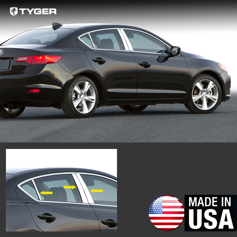 Fit 2013-2015 Acura ILX Stainless Steel Chrome Pillar Post